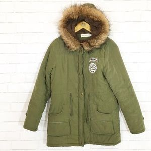 Jackets & Blazers - Army Green Faux Fur Hooded Jacket